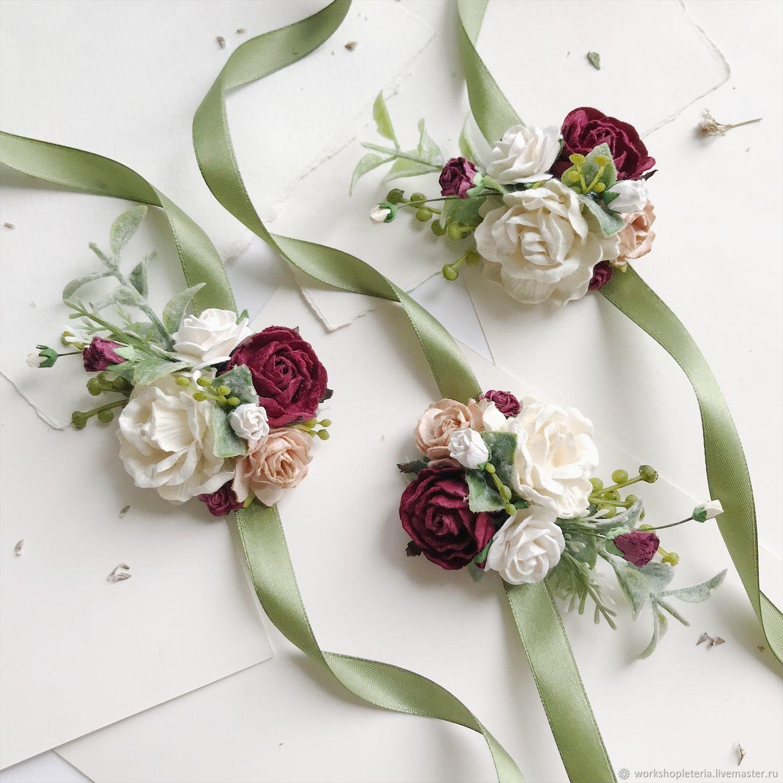 Браслеты для подружек невесты с бордовыми и молочными цветами, Браслеты, Санкт-Петербург,  Фото №1