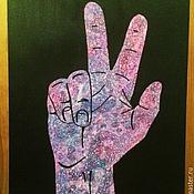 """Картины и панно ручной работы. Ярмарка Мастеров - ручная работа Серия Жесты """"Peace"""" (мир). Handmade."""