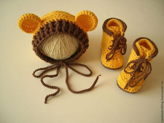 """Для новорожденных, ручной работы. Ярмарка Мастеров - ручная работа. Купить Комплект """"Мишутка"""". Handmade. Желтый, чепчик для мальчика"""