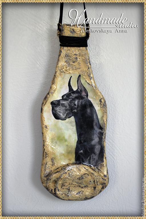 """Животные ручной работы. Ярмарка Мастеров - ручная работа. Купить Панно -бутылка """"Дог"""". Handmade. Бутылка, бутылочка стеклянная, собаки"""