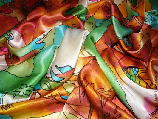"""Шали, палантины ручной работы. Ярмарка Мастеров - ручная работа. Купить платок батик """"Приключение Осени"""". Handmade. Рисунок"""