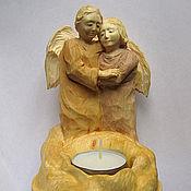 Для дома и интерьера ручной работы. Ярмарка Мастеров - ручная работа Ангелочки - подсвечник резной деревянный. Handmade.