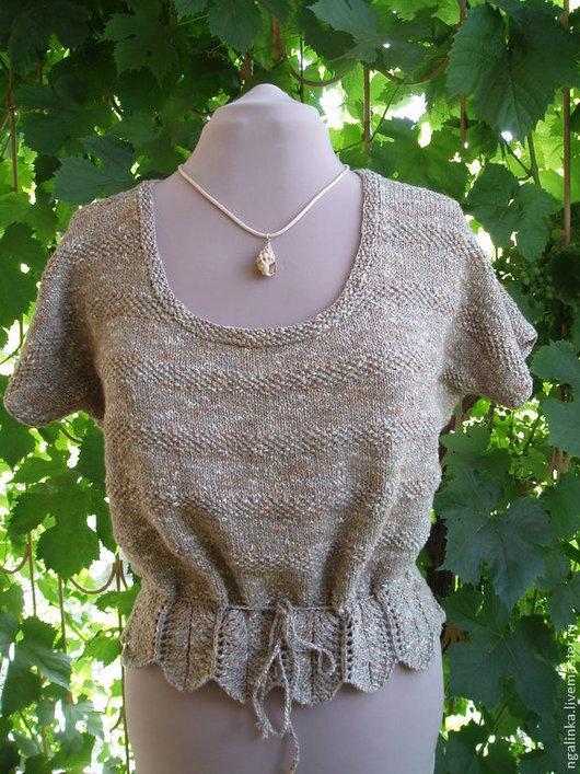 Кофты и свитера ручной работы. Ярмарка Мастеров - ручная работа. Купить блузка из льна Гранит. Handmade. Абстрактный, кофта спицами