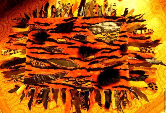 Текстиль, ковры ручной работы. Ярмарка Мастеров - ручная работа. Купить меховой прикроватный коврик. Handmade. Прикроватный коврик, рыжий