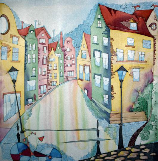 Город ручной работы. Ярмарка Мастеров - ручная работа. Купить Домики Амстердама. Handmade. Панно на шёлке, подарок мужчине