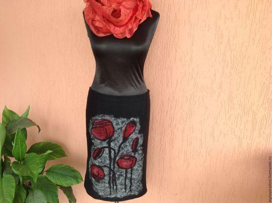 """Юбки ручной работы. Ярмарка Мастеров - ручная работа. Купить Авторская валяная юбка """"Маки"""". Handmade. Черный, валяние из шерсти"""