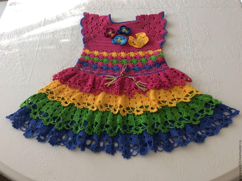 Как украсить вязаное платье для девочки своими руками 44