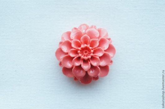 Для украшений ручной работы. Ярмарка Мастеров - ручная работа. Купить Цветок коралл прессованный 35х35 мм. Handmade. Коралловый