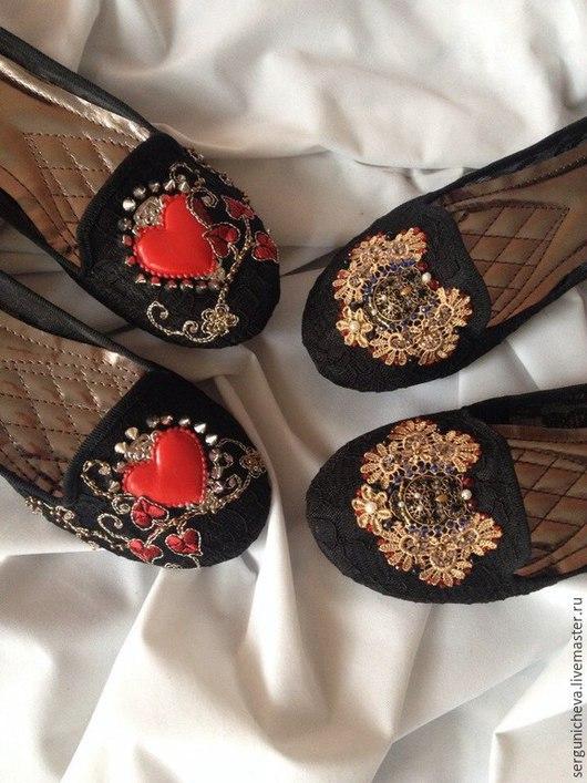 """Обувь ручной работы. Ярмарка Мастеров - ручная работа. Купить Слиперы""""Сердца и Совы""""в стиле DG. Handmade. Кружевные, тренд 2015"""