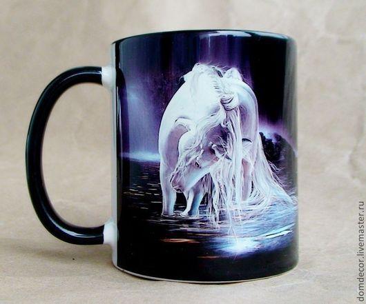 """Кружки и чашки ручной работы. Ярмарка Мастеров - ручная работа. Купить Чашка """"Волшебный единорог"""". Handmade. Чёрно-белый, чашка"""