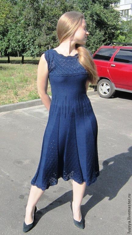 Платья ручной работы. Ярмарка Мастеров - ручная работа. Купить Летнее платье. Handmade. Тёмно-синий, ажурный узор