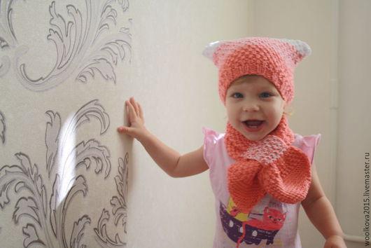 Шапки и шарфы ручной работы. Ярмарка Мастеров - ручная работа. Купить шапка и шарф для девочки. Handmade. Разноцветный, шапка детская