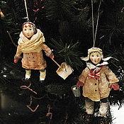 Куклы и игрушки ручной работы. Ярмарка Мастеров - ручная работа Ванечка и Валечка. Елочные игрушки из ваты.. Handmade.