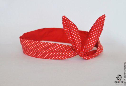 Повязки ручной работы. Ярмарка Мастеров - ручная работа. Купить Женская повязка на голову солоха ПИН-АП красная в горошек / однотонная. Handmade.