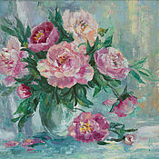 Картины и панно handmade. Livemaster - original item Picture pink peonies on a mint background a bouquet in a vase on the table. Handmade.