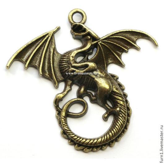 Для украшений ручной работы. Ярмарка Мастеров - ручная работа. Купить Дракон, металл 44х47 арт.У-283 бронза. Handmade.