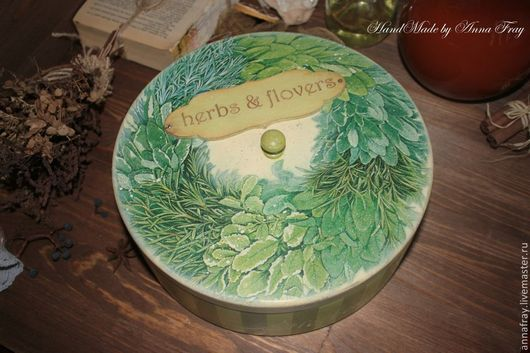 "Кухня ручной работы. Ярмарка Мастеров - ручная работа. Купить ""Herbes & Flowers"". Handmade. Салатовый, шкатулка круглая"