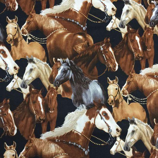"""Шитье ручной работы. Ярмарка Мастеров - ручная работа. Купить Ткань """"Лошадки"""". Handmade. Коричневый, лошадки, хлопок, американский хлопок"""