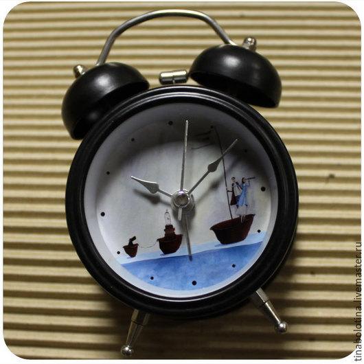 Часы для дома ручной работы. Ярмарка Мастеров - ручная работа. Купить Будильник_Морское путешествие. Handmade. Часы настольные, часы будильник