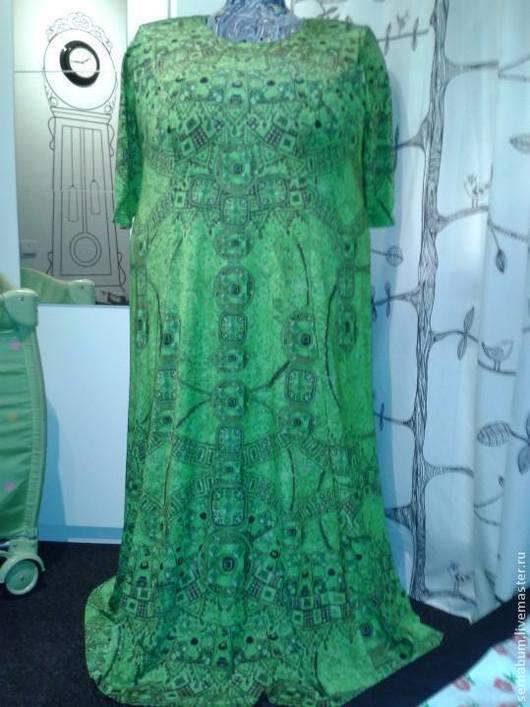 Большие размеры ручной работы. Ярмарка Мастеров - ручная работа. Купить Платье для полных. Handmade. Зеленый, трикотажное платье