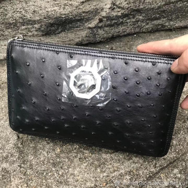 Clutch bag made of genuine ostrich leather in black!, Clutches, Tosno,  Фото №1
