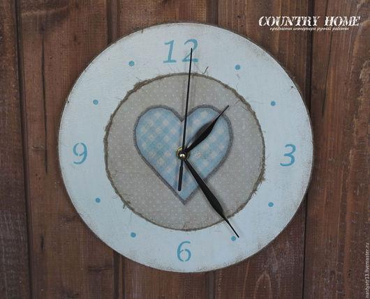Часы настенные Деревенская любовь 2, декупаж