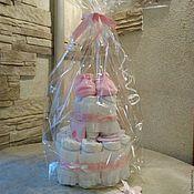 Сувениры и подарки handmade. Livemaster - original item Cake from diapers for newborn ,for baby girl. Handmade.