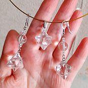 Украшения handmade. Livemaster - original item Earrings with Merkaba made of Rock crystal