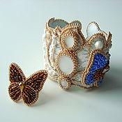 """Украшения ручной работы. Ярмарка Мастеров - ручная работа """"Бабочки в моем саду"""" браслет с кружевом и кольцо. Handmade."""