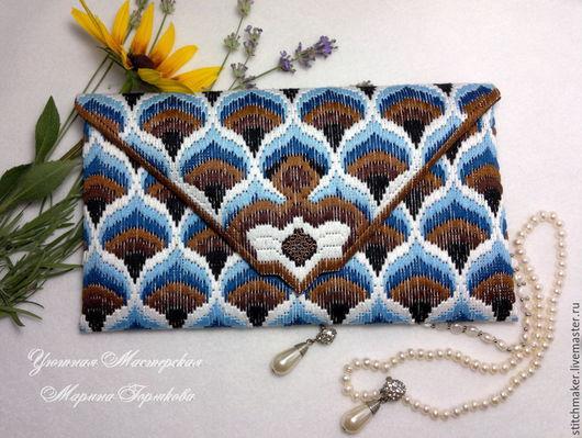 Женские сумки ручной работы. Ярмарка Мастеров - ручная работа. Купить Клатч сине-коричневый вышитый в стиле барджелло. Handmade.
