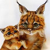 Куклы и игрушки ручной работы. Ярмарка Мастеров - ручная работа Кошка-Рысь с малышом. Handmade.