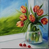 Картины и панно ручной работы. Ярмарка Мастеров - ручная работа Картина маслом  Тюльпаны в вазе. Handmade.