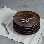 Посуда handmade. Livemaster - original item A set of Wooden Saucers (6 PCs) 20.5 cm 100%#43. Handmade.