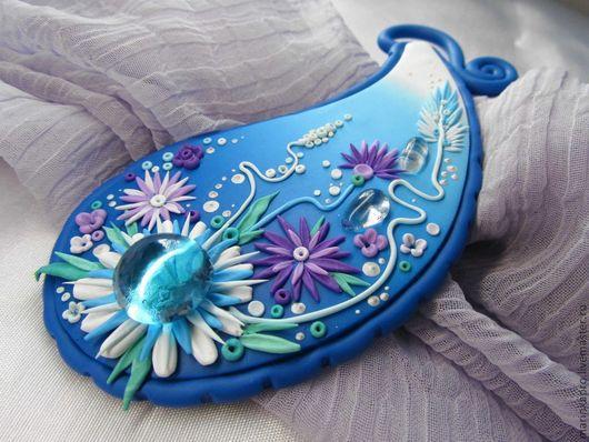 """Броши ручной работы. Ярмарка Мастеров - ручная работа. Купить Брошь """"Небесная"""". Handmade. Синий, брошь в подарок, фиолетовый цвет"""