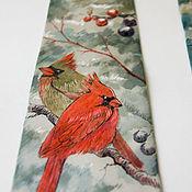 Аксессуары ручной работы. Ярмарка Мастеров - ручная работа Кардиналы - шелковый галстук с ручной росписью. Handmade.
