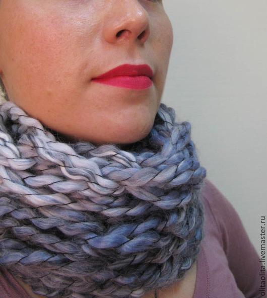 Шарфы и шарфики ручной работы. Ярмарка Мастеров - ручная работа. Купить Шарф туман вязаный шарф-снуд крупной вязки. Handmade.