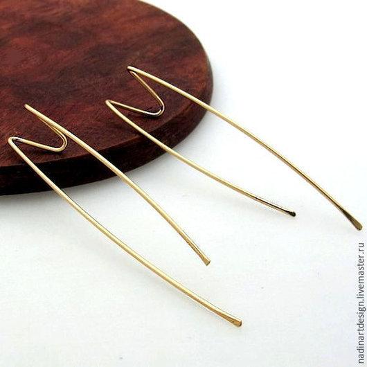 Золотые длинные серёжки