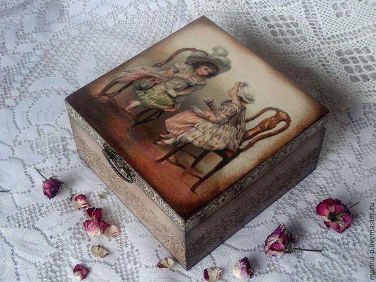 """Шкатулки ручной работы. Ярмарка Мастеров - ручная работа. Купить Чайная коробка"""" Подружки"""". Handmade. Бежевый, подарок на 8 марта"""