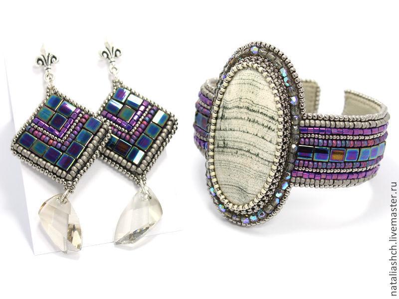 Bracelet and earrings, embroidery, with stones and Swarovski purple, Jewelry Sets, Samara,  Фото №1