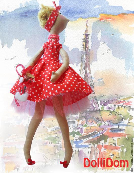 Текстильная кукла  ручной работы. Ярмарка Мастеров - ручная работа. Купить Интерьерная текстильная кукла в стиле пин-ап. Яркая. Красный. Handmade.1