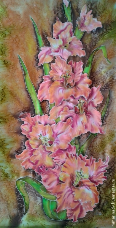 Картина `Гладиолус`, 30-60 см., натуральный шёлк, авторский батик.