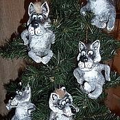 Подарки к праздникам ручной работы. Ярмарка Мастеров - ручная работа Серый волк. Елочные игрушки из папье-маше. Handmade.