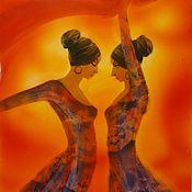 """Картины ручной работы. Ярмарка Мастеров - ручная работа Картина, панно """"Красный танец"""" ручная роспись фарфора. Handmade."""