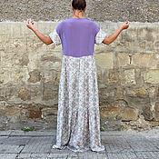 Цыганское длинное летнее макси бохо платье с шифоном, ручная работа
