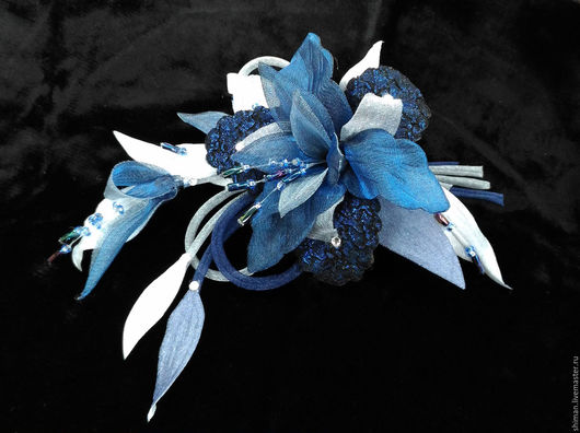 Броши ручной работы. Ярмарка Мастеров - ручная работа. Купить Орхидея из ткани на вечернее платье.. Handmade.
