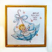 Для дома и интерьера ручной работы. Ярмарка Мастеров - ручная работа Детская метрика вышивка подарок в зонтике. Handmade.