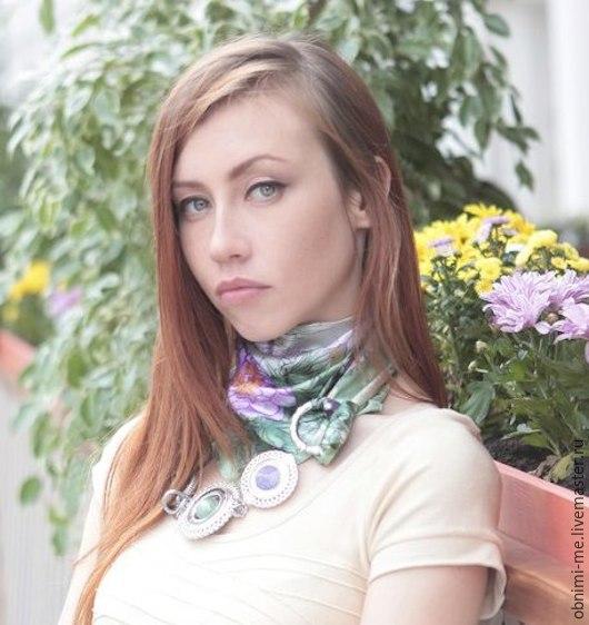 "АКЦИЯ!!! Платок-колье ""Цветочная поляна"", Платки, Москва, Фото №1"