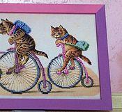 Картины и панно ручной работы. Ярмарка Мастеров - ручная работа Веселый марафон - коты ). Handmade.