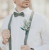 Аксессуары handmade. Livemaster - original item Bow tie and suspenders Harmony kit gray for wedding rustic style. Handmade.