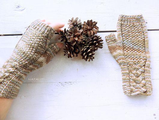 Варежки, митенки, перчатки ручной работы. Ярмарка Мастеров - ручная работа. Купить Митенки Drevo из шерсти. Handmade. Коричневый